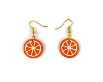 Orange slices earrings, tangerine slices dangle earrings, clementine slices fancy earrings, plastic gourmand earrings (recycled CD)