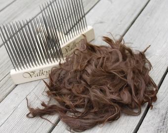"""Raw Suri Alpaca - Soft Yearling Fleece - 2 ounces """"Rhapsody Prince"""" - Small Farm Sourced Soft! Doll Hair, Spinning"""