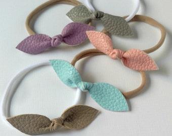 Leather Felt Knot Bow Headband - choose your color- nylon headband