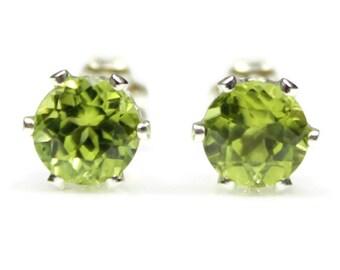 Peridot Earrings Sterling Silver Peridot Stud Earrings Peridot Jewelry Peridot Post Earrings Green Gemstone August Birthstone 4MM 6MM Round