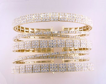 High Quality Designer 11.50ct Diamond 18K Yellow Gold Bangle Cuff Bracelet