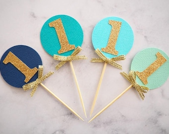 First birthday cupcake toppers | One toppers | Gold glitter cupcake toppers | Age toppers | Boys first birthday | Set of 12 |