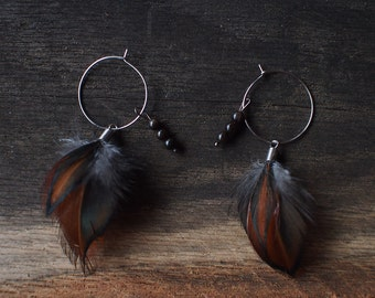 Feather earrings, hoop earrings