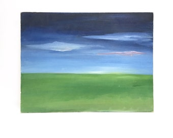 Vintage original painting on canvas panel | blue and green | earth and sky | landscape | abstract