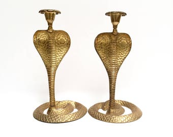 Brass cobra candleholders, a pair | vintage serpent candle holders | floral accents | boho chic | large brass snake candlesticks