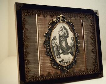 Rustic Tabletop Michaelangelo's Sistine Madonna Virgin Mary Art Decor