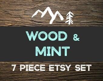 Wood Etsy Banner Set-Rustic Etsy Banner-Mint Etsy Set-Shop Branding
