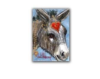 Valentine's Day Donkey 4 Artwork Miniature  llmartin Original ACEO  Watercolor  Farm and Country  Free Shipping in USA