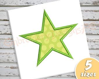 Star Applique - 5 Sizes - Machine Embroidery Design File