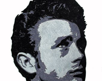 James Dean hand-drawn drawing / painting