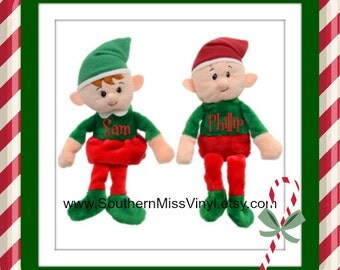 Custom Christmas Elf Plush Toy with name or monogram, Stuffed Girl Elf Toy, Stuffed Boy Elf Toy, Stocking Stuffer