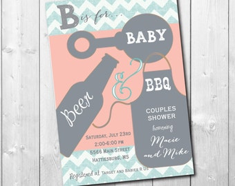 Couples Baby Shower Invitation/DIGITAL FILE/printable/wording and colors can be changed