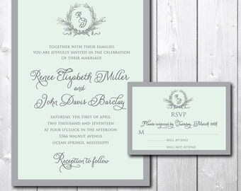 Beautiful Wedding Invitation and matching RSVP card/DIGITAL FILES/printable/wording and colors can be changed