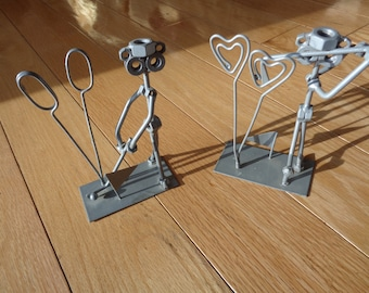 FORE! Vintage Photo Holders of 2 golfer sculptures  made with nuts and bolts and welded metal pieces in familiar golf poses in Great Shapes