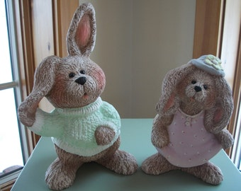 Ceramic Easter Bunny,boy and girl textured look set of 2