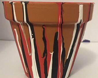 Husker inspired Terra Cotta Pot (4.5 inch)