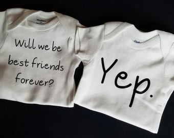 Best Friends Twins Set, Twins Baby Clothes, Funny Twins, Twins Baby Shower Gift, Gender Neutral Twin Clothes, Baby Twins Gift, Pregnancy