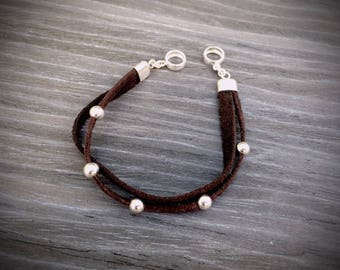 bracelet with leather cord and silver beads sterling silver 925