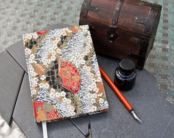 Handbound Red and Gold Fan Chiyogami silkscreen Journal (made with 100% recycled paper)