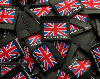 """Union Flag / Union Jack """"Made in the UK"""" 35mm Black Woven Labels Garment Accessories Tag"""