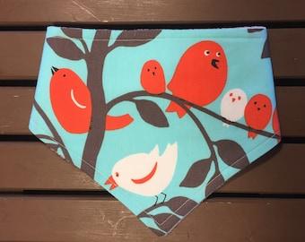 Bird bandana bib,  red bird bib, valentine bib, white bird bibdana, drool bib, girl baby shower gift, valentine baby gift, new baby gift