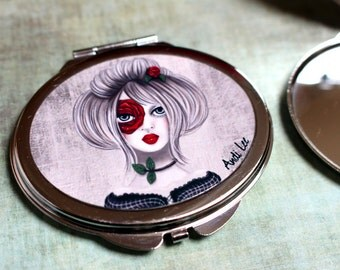 """Compact mirror """"Rosée"""". Pocket mirror. Purse mirror. Exclusive drawing and printing by Andi Lee."""
