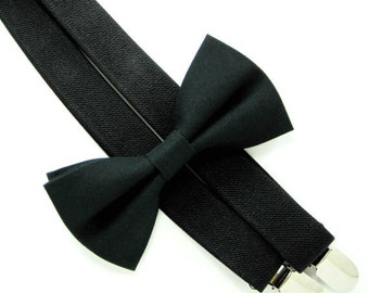 Bow Tie and  Suspenders -Solid Black Bow Tie and Black Suspender set -Bow Tie and Suspender Set for Baby,Toddler and Boys