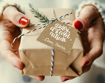 Baby Its Cold Outside Favor Tags - 24 Gift Tags - Winter Decor - Christmas Gift Tags - Christmas Themed Tags - Christmas Present Tags