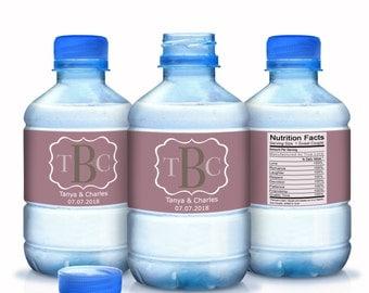 Monogram Wedding Water Bottle Labels - Wedding Decor - Wedding Favors - Wedding Labels - Bridal Shower Labels - Bottle Wraps