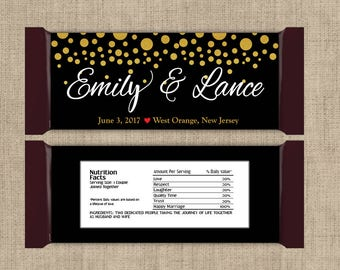12 Large Personalized Gold Confetti on Black Hershey Candy Bar Wrappers - Wedding Candy Bar Wrapper  - Other Colors Available
