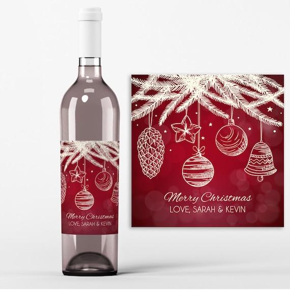 Christmas Wine Bottle Label - 4 Christmas Wine Labels - Christmas ...