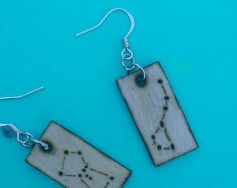 Handmade Wood Burned Earrings/Constellations/Big Dipper and Orion