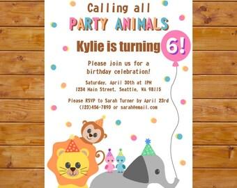 Party Animal Invitation - Zoo Birthday Invitation - Girl Birthday Party - Printable, Custom, Digital File