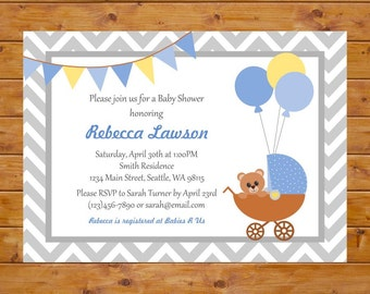 Blue and Yellow Carriage Baby Shower Invitation - Teddy Bear Baby Shower Invitation - Printable, Custom, Digital