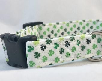 Green Irish Shamrock Dog Collar - St. Patrick's Day Dog Collar - Irish Dog Collar - Boy Dog Collar Green - Girl Dog Collar Green