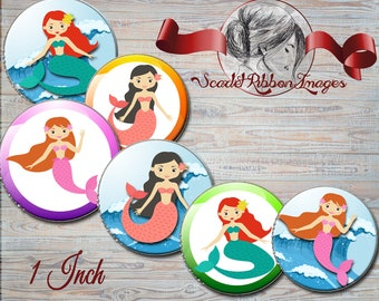 Mermaid Fun Bottle Cap Images 1 inch round circles digital sheet birthday party favor bag tags, printable images