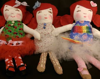 17 in. Handmade Doll Red Hair