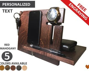Mens Gift, Personalized Graduation Gift For Him, Docking Station,Anniversary Gifts for Men, Fathers Day Gift, iPhone Docking Station,