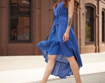 assimitrichnoe blue polka dot dress