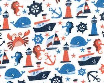 Sea themed fabric etsy for Children of the sea fabric