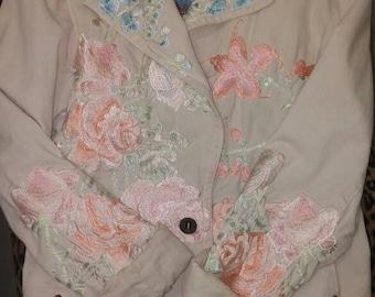 Denim Jacket .Vintage cotton denim jacket.Johnny Was Biya Embroiderd vintage denim jacket.Two ten  ten five Biya rose floral embroidered .
