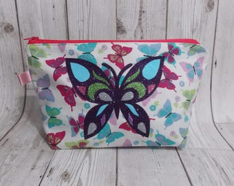 Butterfly Make Up Bag, Cosmetic Bag, Glitter Bag, Mothers Day Gift, Gift For Her, Butterfly Gift, Makeup Storage