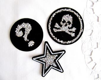 3Pcs. Viano Iron On Star,Skull , Question Patch,Silver Skull Patch,Rhinestone Question Patch,Rhinestone Star Patch,Silver Question Applique,