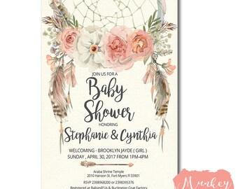 DREAM CATCHER BABY Shower Invitation, Baby Shower Invitation Dream Catcher, Dream Catcher Invitation, Feather Baby Shower Invitation