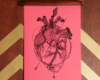 greeting card: anatomical heart | valentine | not valentine | my heart beats for you | don't give up | encouragement