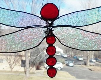 Stained Glass Big 'Ole Red Dragonfly