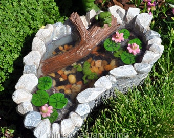 Lily Pad Pond with Frogs for Miniature Garden, Fairy Garden