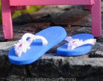 Miniature Flip Flops - Blue for Miniature Garden, Fairy Garden