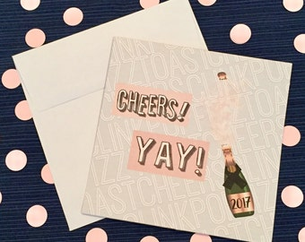 Cheers - New Year's Greeting Card and Envelope - 2017 - Pop Fizz Clink