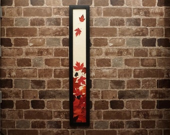 THE SKINNY Pressed Red Maple Leaf Falling Picture. Available in Black and Walnut Frame. Canadian! Perfect for any nature lover! Home decor